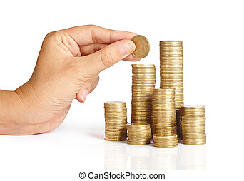 Hand put coins to stack of coins on white background...
