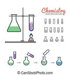 Chemical test tubes icons - Chemical test tube icons set...