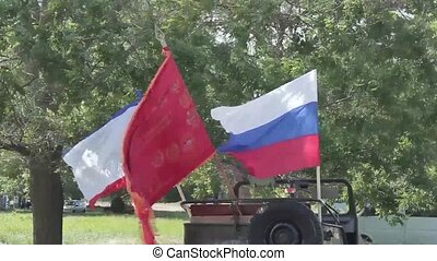 national flags - flag of Russia, Crimea and the USSR