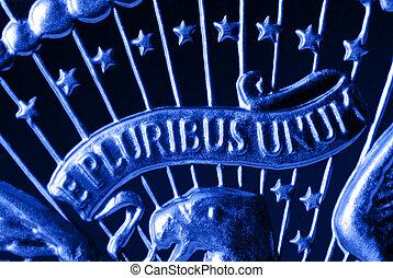 E Pluribus Unum Motto on Vintage, Retro, 1967 United States...