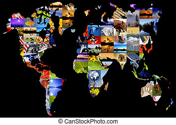 World Map of Color Photographs - World map composed of a...