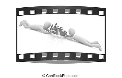 Mans with life ring. 3d rendered illustration. The film strip