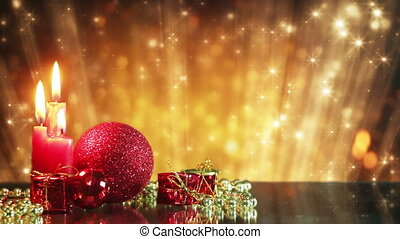 christmas decorations and glitter bokeh lights loopable