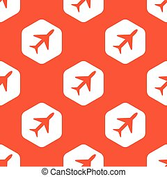 Orange hexagon plane pattern