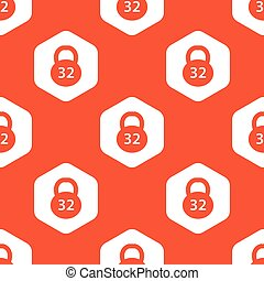 Orange hexagon dumbbell pattern - Image of 32 kg dumbbell in...