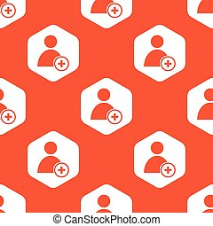 Orange hexagon add user pattern - Image of user icon and...
