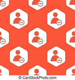 Orange hexagon remove user pattern - Image of user icon and...