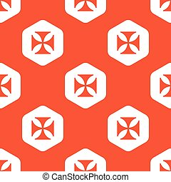 Orange hexagon maltese cross pattern - Image of maltese...