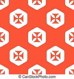 Orange hexagon maltese cross pattern - Image of maltese...