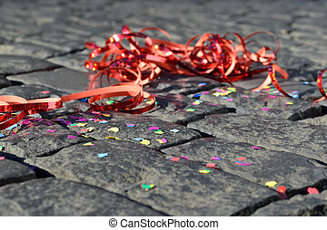 Celebration - Confetti and streamers on the ground - symbol...