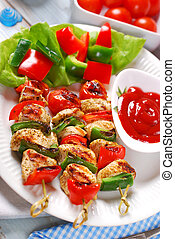 chicken and vegetable grilled skewers