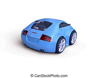 Baby Coupe Rear View - Little Blue Tiny Isolated Concept Car