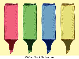 Clipart of felt-tip pens highlighters - Clipart from four...