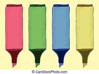 Clipart of felt-tip pens highlighters