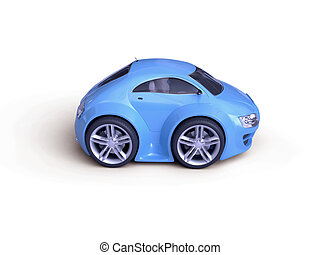 Baby Coupe Side View - Little Blue Tiny Isolated Concept Car