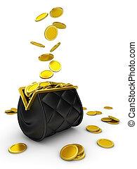 財布, 落ちる, お金