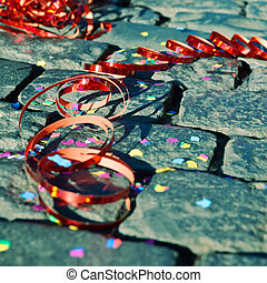 Party - Confetti and streamers on the ground - symbol for...