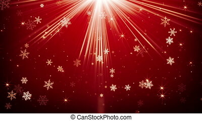 snowfall in red light rays loopable animation - snowfall in...
