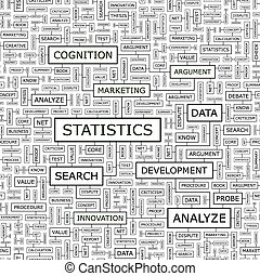 STATISTICS. Seamless pattern. Word cloud illustration.