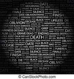 DEATH. Background concept wordcloud illustration. Print...