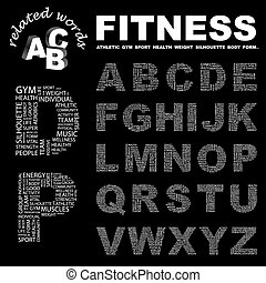 FITNESS. ABC. Word cloud concept illustration. Print concept...
