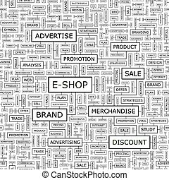 E-SHOP. Seamless pattern. Word cloud illustration.