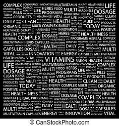 VITAMINS Word cloud concept illustration Wordcloud collage...