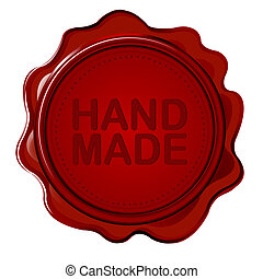 Hand made wax seal against white background