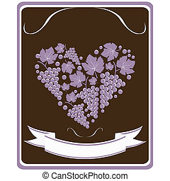 Label for a bottle of wine with grapes  in the form of heart