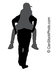 Silhouettes of young male carrying his girlfriend piggyback...