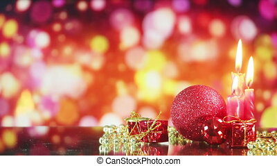 christmas decorations and glowing bokeh seamless loop