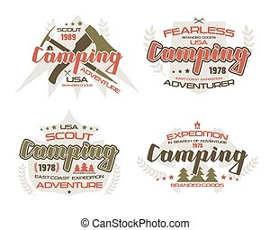 Camping emblems for t-shirt. Color print on white background...