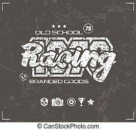 Racing emblem in retro style Graphic design for t-shirt...