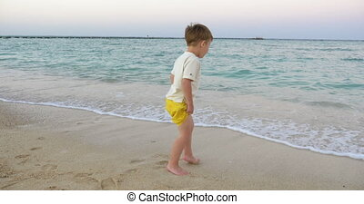 Boy Standing in the Incoming Waves