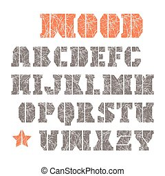 Stencil-plate serif font with texture of the branches. Color...