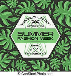 Summer fashion week flyer and seamless pattern. Dark colors