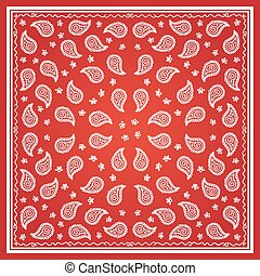 Red Paisley Bandana simple pattern