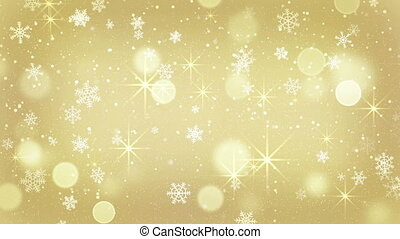 golden snowflakes and stars falling seamless loop