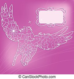 Pink background with pegasus