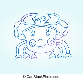 blue line drawing of sea animal, underwater decorative crab