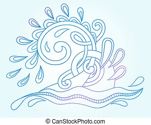 decorative aquatic blue wave with sparks and drops