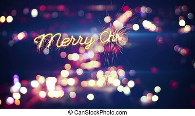merry christmas sparkler greeting and city bokeh last 5 seconds loop