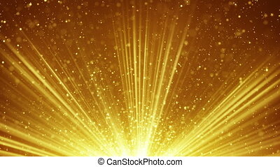 golden light rays and particles loopable background