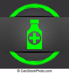 Pills bottle icon Internet button with green on grey...