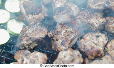Squash and meat on the grill