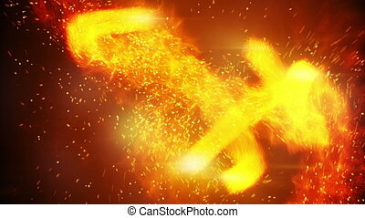 fireballs and spaks rushing loopable background - fireballs...