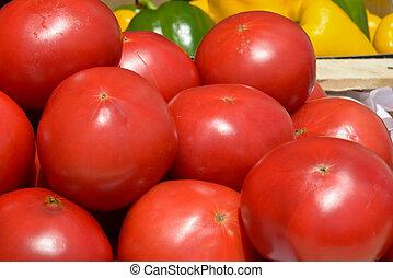 de madera, tomates, Cajones, rojo
