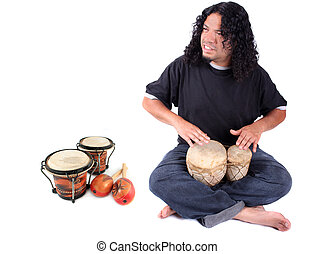 Ethnic drummer - Funky long haired ethnic African American...