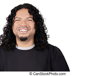 Multi-racial male with big white teeth smile and long curly...
