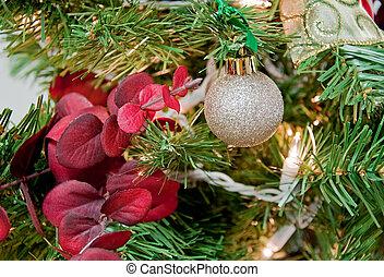 Christmas Tree with Red Eucalyptus